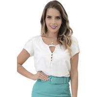 Blusa Mamorena Mangas Com Aplique Branco
