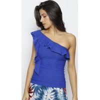 Blusa Ombro Único Com Babados - Azul- Moiselemoisele