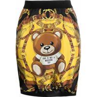 Moschino Bear Logo Print Fitted Silk Skirt - Preto