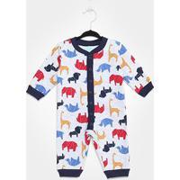 Pijama Infantil Macacão Kyly Moletom Peluciado Baby Masculino - Masculino-Marinho