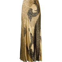 Rixo Saia Longa Com Estampa De Leopardo - Dourado