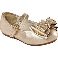Sapato Boneca Em Couro Com Laã§Os & Aplicaã§Ãµes - Ouro Velprints Kids