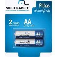 Pilhas Recarregáveis Aa Multilaser 2500Mah Com 2 Unidades - Cb053 - Padrão