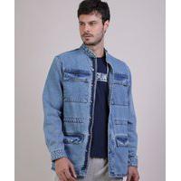 Parka Jeans Masculina Com Bolsos Azul Claro