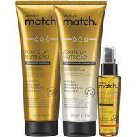 Combo Match Fonte Da Nutrição Fios Grossos: Shampoo + Condicionador + Óleo Capilar