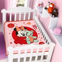 Cobertor Infantil Jolitex Raschel Minnie Ursinho Rosa - Kanui