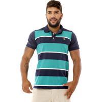 c0cbdb740ae26 Dafiti; Camisa Gola Polo Bamborra Denim Listrada Verde Com Azul