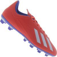 Chuteira De Campo Adidas X 18.4 Fg - Adulto - Vermelho/Azul