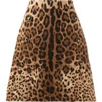 Dolce & Gabbana Saia Evasê Animal Print - Neutro