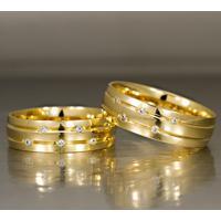 Aliança De Bodas De Ouro Com Filete Diamantado - As0103