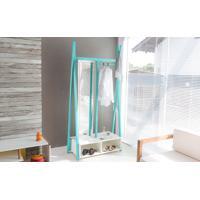 Arara De Madeira Para Roupas Com Cabideiro E Com Espelho Giratório Toucador Com Sapateira Cor Branco Com Azul Woodinn 96X42X194 Cm
