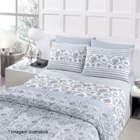 Edredom Royal Plus Queen Size- Azul & Branco- 240X25Santista