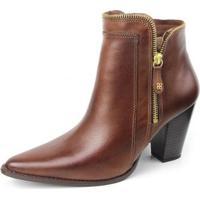 Ankle Boot Couro Sapatofran Perlatto Feminina - Feminino-Marrom