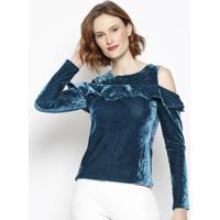 Blusa Aveludada Com Vazados - Azul Escuro - Morinamorina