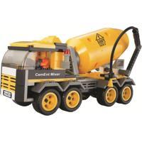Blocos De Encaixe Xalingo Cidade Em Obras Caminhão Betoneira 189 Peças Amarelo - Kanui
