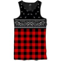 Camiseta Bsc Regata Red Chess Bandana Full Print - Masculino-Preto