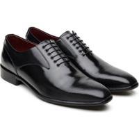 Sapato Social Jacometti Couro Sofisticado Masculino - Masculino-Preto