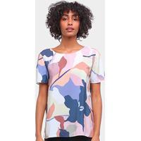Blusa Lez A Lez Tecido Rayon Bali Floral Feminina - Feminino-Verde+Azul