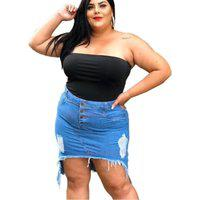 Saia Jeans Plus Size Destroyed Rasgada Midi Cintura Alta