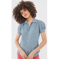 Camisa Jeans Polo Ralph Lauren Mangas Bufantes Azul