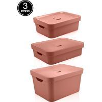 Kit Caixas Organizadoras Cube 3Pçs Ou Terracota