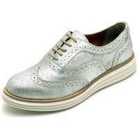 Sapato Casual Oxford Conforto Camurça 300 Prata