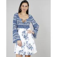 45a3fdee1 AMARO; Vestido Feminino Estampado Floral Com Tassel Manga Longa Sino Azul