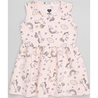 Vestido Infantil Estampado De Unicórnio Sem Manga Rosa