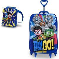 Mochila Escolar 3D Com Rodinhas E Lancheira Maxtoy Teen Titans Go - Unissex-Azul