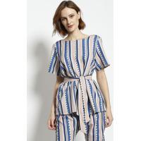 Blusa Com Amarraã§Ã£O- Bege & Azul Marinhoenna