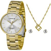 Kit De Relógio Analógico Lince Feminino + Brinco + Colar - Lrgh108L Kw71S1Kx Dourado