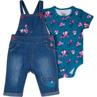 Conjunto De Jardineira + Body Floral- Azul & Rosatip Top
