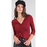 a31675a25a Privalia  Blusa Feminina Cropped Estampada Xadrez Com Amarração Manga 7 8  Vermelha