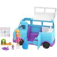 Boneca Polly Pocket Glamurosa Van De Campismo Com Acessórios Azul
