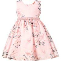 Vestido Infantil Cattai Floral Rosa Com Tiara