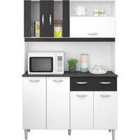 Armário P/ Cozinha 7 Portas 2 Gavetas - Poquema Kit Ellen - Branco/Preto