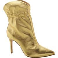 Bota Em Couro Metalizada- Douradaschutz