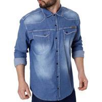 5f56902a37 Camisa Jeans Manga Longa Masculina Bivik Azul
