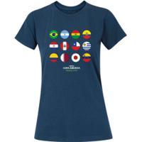 Camiseta Adams Básica Futebol - Feminina - Azul Escuro - Bandeiras Copa América 2019 - Azul Escuro