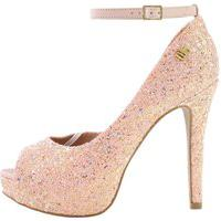 Peep Toe Week Shoes Meia-Pata Glitter Furta-Cor Rosa Com Corte Lateral.