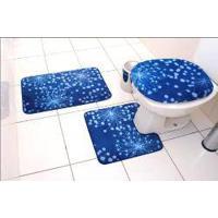 Jogo De Banheiro Luxo 3 Peças Azul