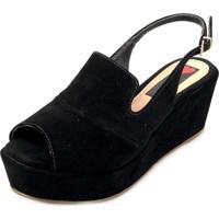 Sandália Anabela Love Shoes Média Fechada Uncle Boot Nobuck Preto
