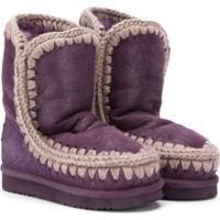 Mou Kids Knit Trim Eskimo Boots - Roxo
