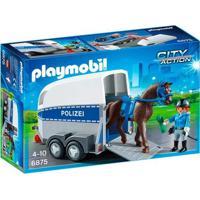 Playmobil - City Action - Trailer Da Polícia Com Cavalo - 6875 - Sunny - Masculino-Incolor