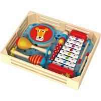 Instrumentos Tooky Toy Caixa De Música Em Madeira - Xilofone, Chocalho, Pandeiro - Tkh003 - Multicolorido