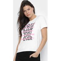 Blusa Calvin Klein Best Day Ever Fenda Feminina - Feminino-Branco