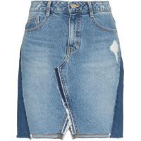 Sjyp Saia Jeans Com Patchwork - Azul