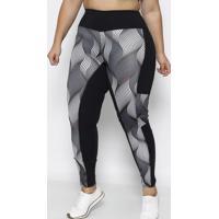 Legging Abstrata Com Recorte- Preta & Cinzaphysical Fitness