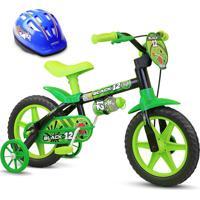 Bicicleta Nathor De 3 A 5 Anos Aro 12 Menino Black 12 Com Capacete Verde