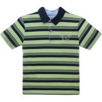 Camiseta Polo Manga Curta Listrado - Vr Kids - Masculino-Marinho